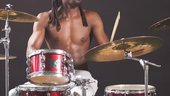 Thumbnail for Close-up of Man's Hands Playing on Drums in Music Studio