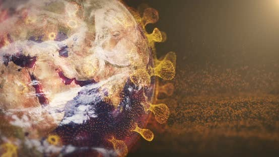 Thumbnail for Corona Virus Bacteria and Earth Spinning with Particles Background 4K
