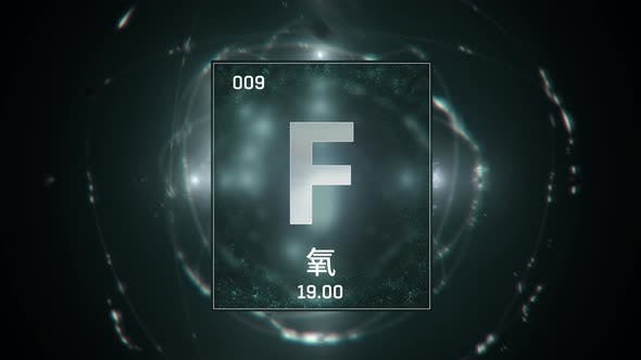 Fluorine as Element 9 of the Periodic Table on Green Background in Chinese Language
