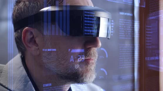 Man Using Holographic Technology