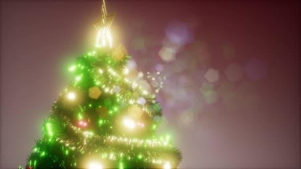 Thumbnail for Joyful Studio Shot of a Christmas Tree with Colorful Lights