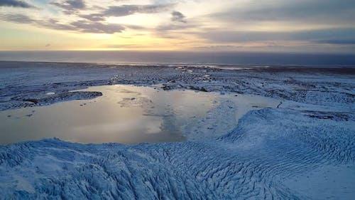Aerial view of Vatnajokull Water Glacier in Iceland.