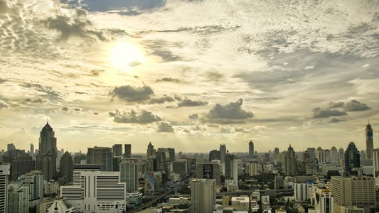 Thumbnail for City Skyline Panorama Timelapse In HDR