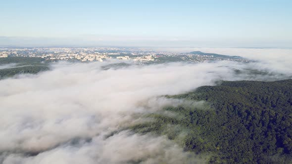Thumbnail for Morning Fabulous Fog Over the Green Forest Near the Big City. A Thick Fog Covered the Strip. Flight