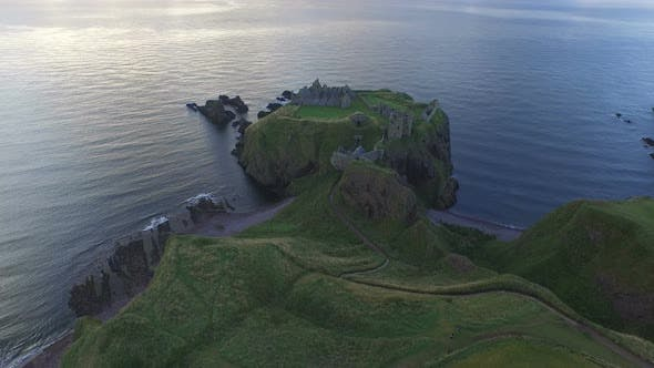 Thumbnail for Aerial view of Dunnottar Castle and North Sea
