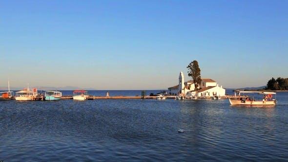 Thumbnail for Sunset Scene of Vlacherna Monastery with Boat