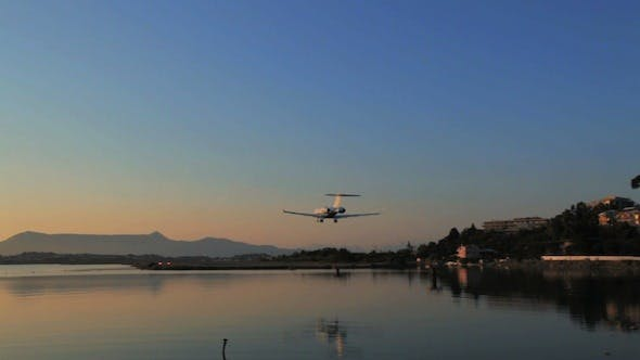 Thumbnail for Two Airplanes Landing, Sunset Scenes in Airport