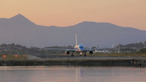 Driving of Airplane on Runway in Airport