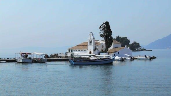 Thumbnail for Tourist Boats Near Vlacherna Monastery, Kanoni