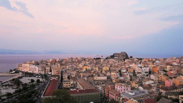 Thumbnail for Aerial View of Corfu City at Twilight