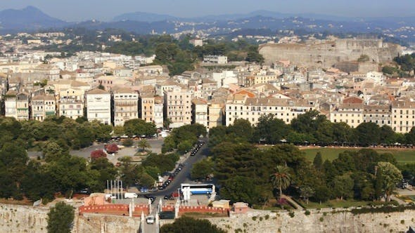Thumbnail for Aerial View of Corfu City with Sunlight
