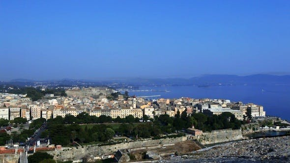 Cover Image for Aerial View of Corfu City with Sunlight 3
