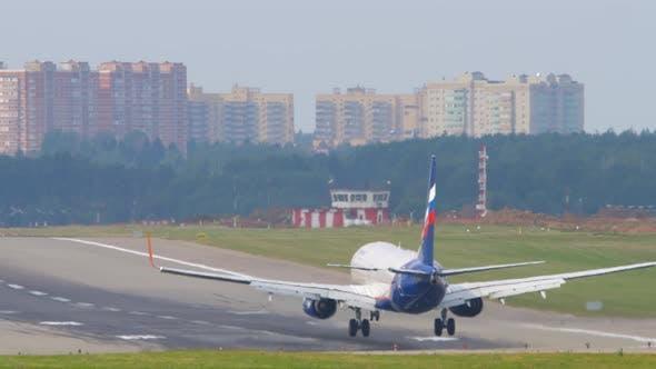 Jet Airplane Brakes on the Runway