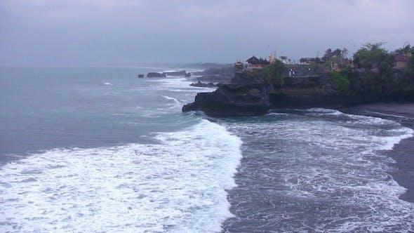 Thumbnail for Aerial View Of Ocean Waves And Old Temple, Bali