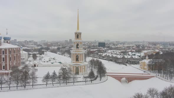 Thumbnail for Ryazan Kremlin and Cityscape in Winter. Russia. Aerial View