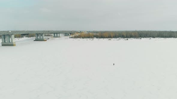 Thumbnail for Boundless White Frozen River Surface Covered with Snow