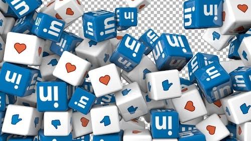 Social Media Icons Transition - Linkedin, Like, Love