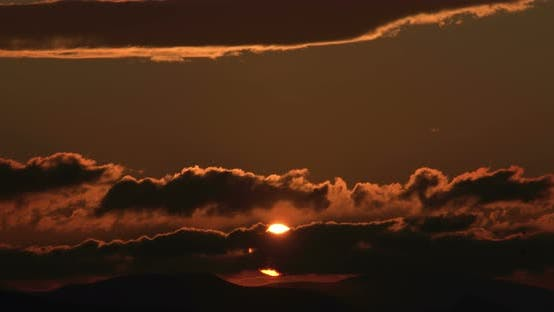 Timelapse Of Twilight Birds And Cloudy Sun