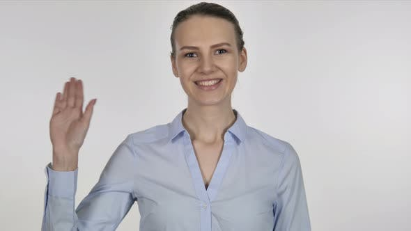 Thumbnail for Young Businesswoman Waving Hand To Welcome