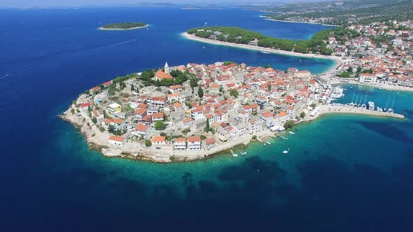 Thumbnail for Aerial view of Primosten peninsula with dalmatian islands in the background