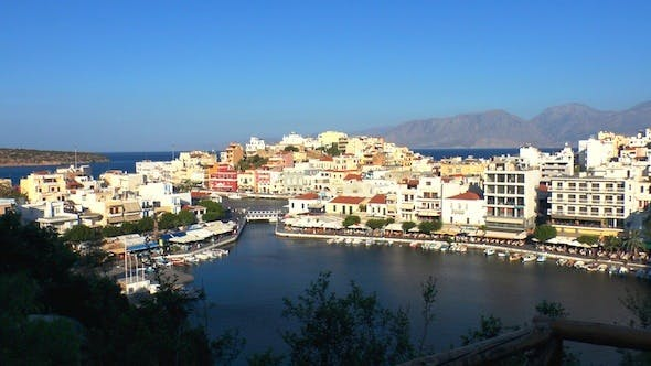 Thumbnail for Aerial View Of Agios Nikolaos City Before Sunset
