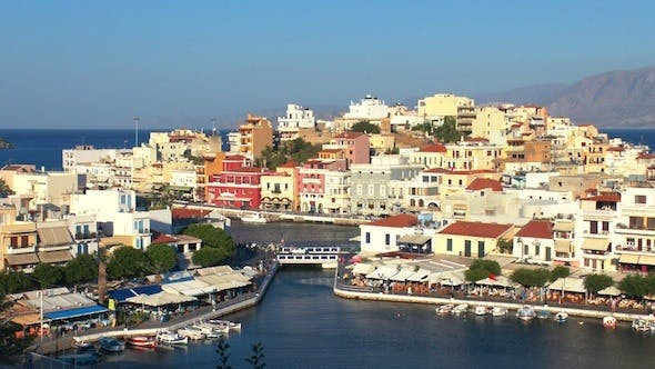 Thumbnail for Aerial View Of Agios Nikolaos City Before Sunset 3