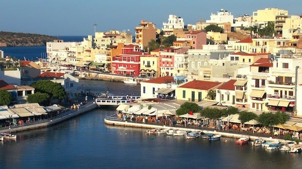 Thumbnail for Aerial View Of Agios Nikolaos City Before Sunset 4