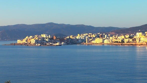 Thumbnail for Aerial View of Agios Nikolaos City after Sunrise