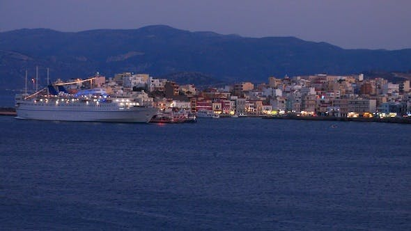 Cover Image for Landscape of Small Touristic City with Cruise Ship