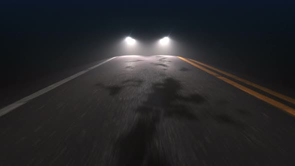 Thumbnail for Car with Headlights on Follows Camera Tracking along Country Night Road