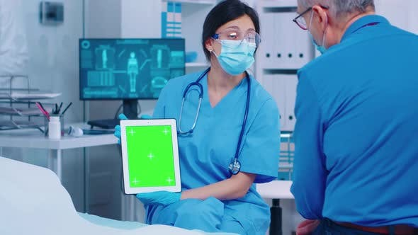 Close Up of Green Screen Tablet