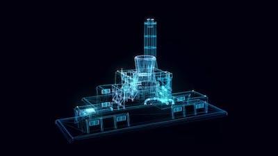 Nuclear Station Hologram Rotating 4k