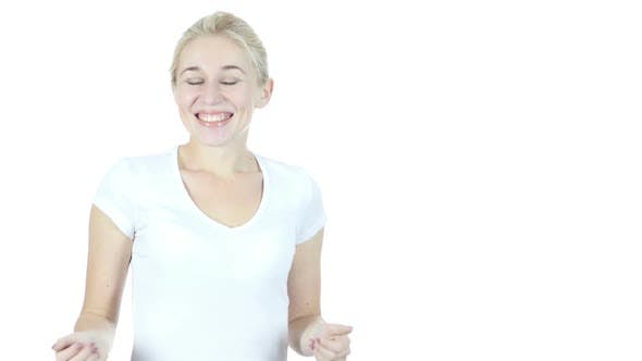 Amazed by Surprise, Excited Woman on White Background