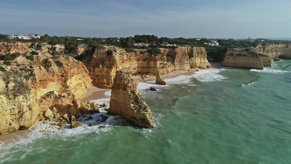 Thumbnail for Aerial View on Cliffs Gulls and Waves in Algarve