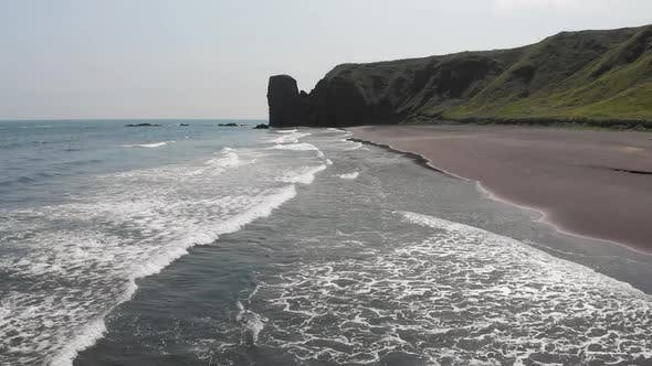 Flying Over Khalaktyrsky Beach with Black Sand on Kamchatka Peninsula