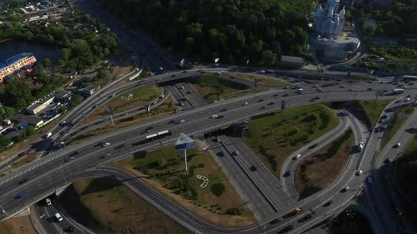 Thumbnail for Cars Traffic on Road Junction in City, Drone View Car Highway Intersection