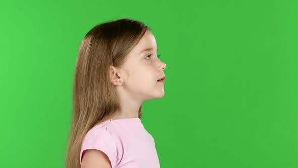 Thumbnail for Baby Speaks Into a Shout. Green Screen. Side View