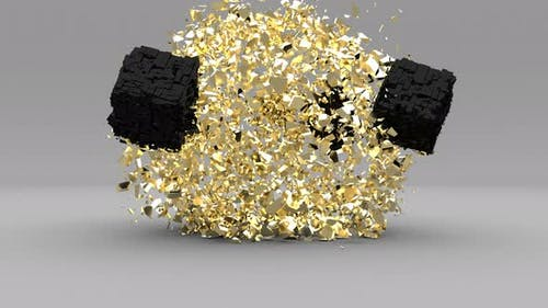 Explosion Golden Cube in 3d Style on Grey Background Gold Dust Super Slow Motion 1000Fps