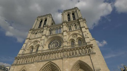 Low angle of the NotreDame Cathedral in Paris