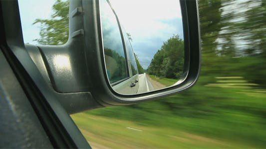 Look In The Mirror Of A Moving Car
