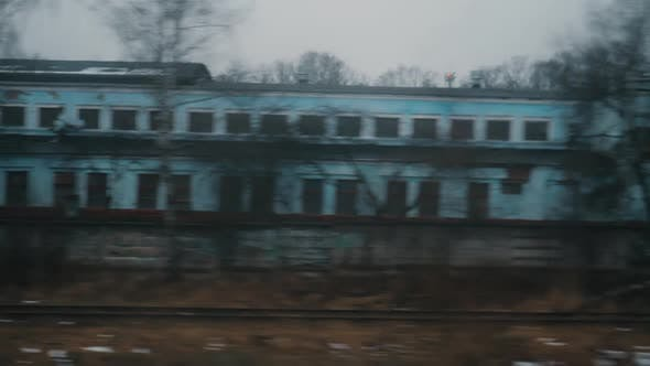 Thumbnail for Looking at Dull Autumn City From Moving Train, Russia