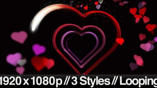 Valentine's Day Hearts Animating - 3 Looped Styles