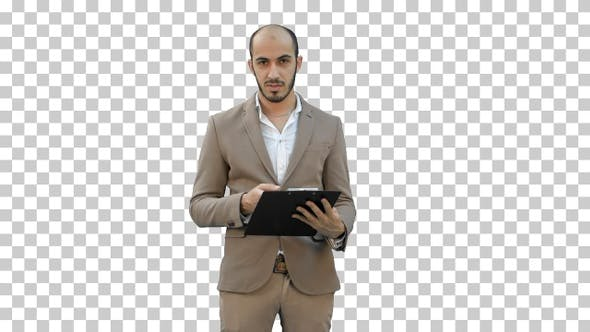 Businessman holding clipboard and presenting, Alpha Channel