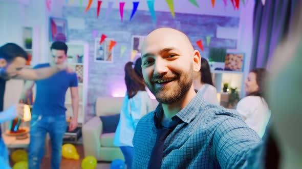 Thumbnail for Pov of Attractive Bald Man Waving at the Camera