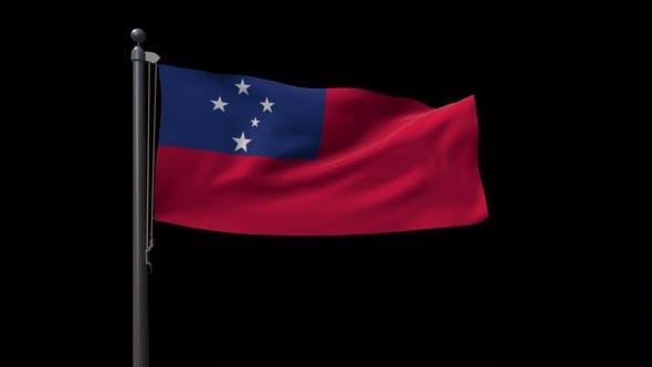 Samoa Flag On Flagpole With Alpha Channel