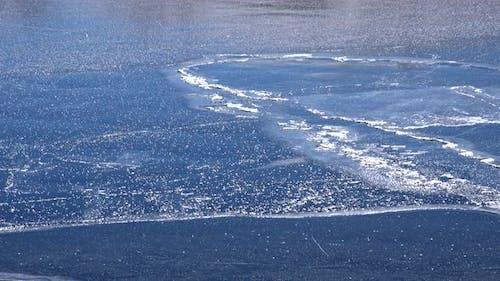 Frozen Floe Ice on Water Surface