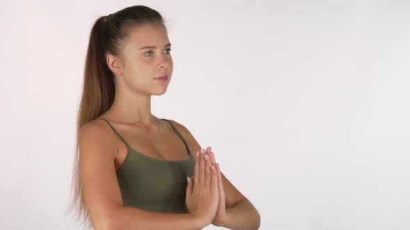 Thumbnail for Beautiful Healthy Woman Looking To the Camera, Preparing for Meditation