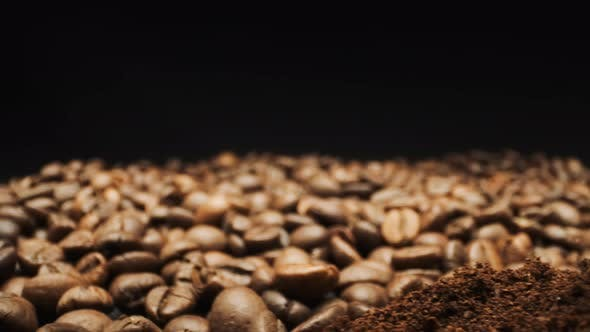 View Of Coffee Beans And Ground Coffee. Close-up.