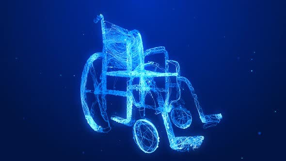 Thumbnail for Glowing Blue Wheel Chair Animating in and Out