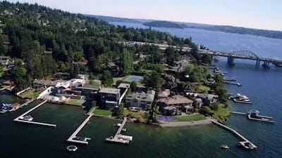 Beautiful Lake Washington Waterfront Luxury Homes Aerial